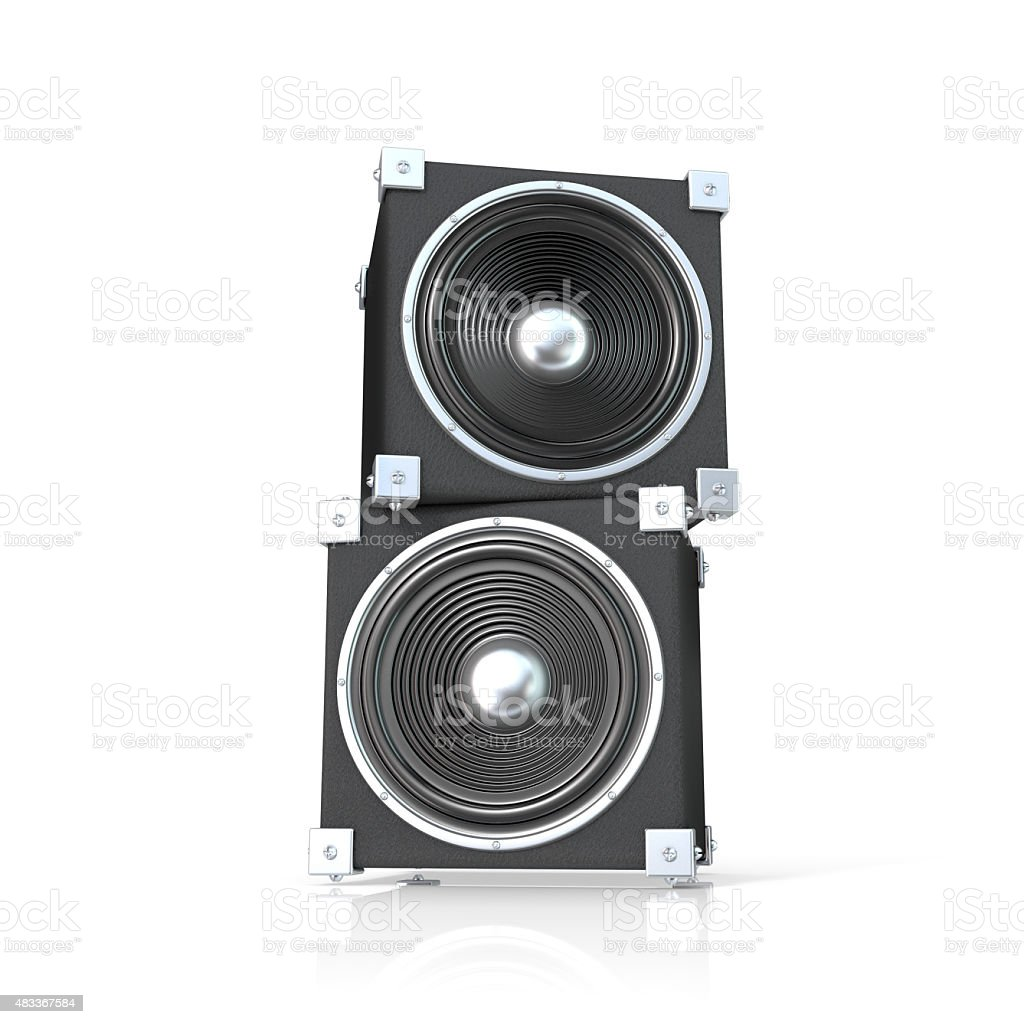 Pair of sound speakers. Front view stock photo