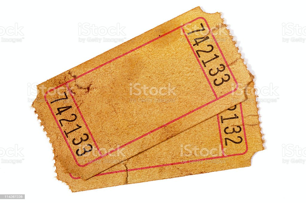Pair of stained blank admission tickets stock photo