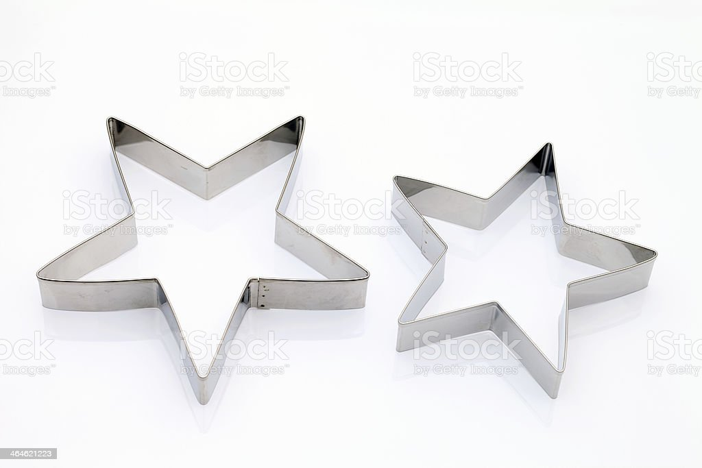 A pair of star shaped metal cutters isolated on white stock photo