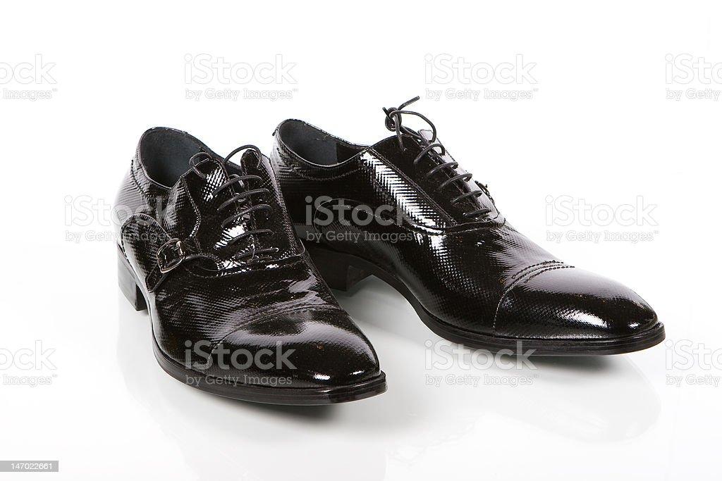 Pair of stylish man shoes isolated on white royalty-free stock photo