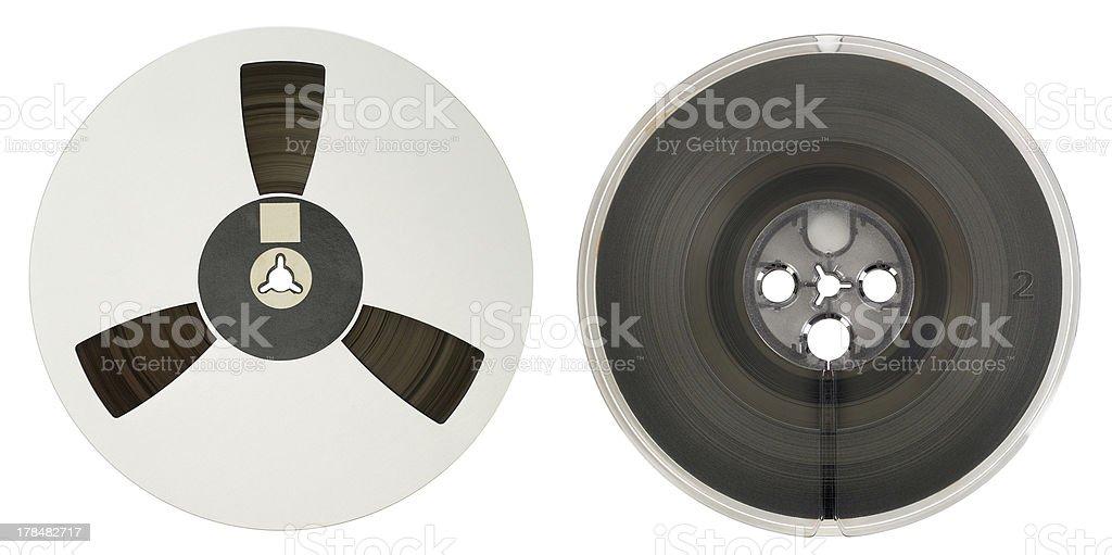 Pair of vintage film reels stock photo