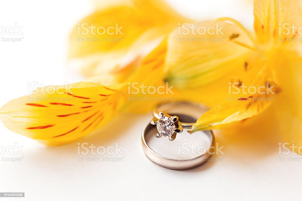 Pair of wedding and engagement rings with yellow Alstroemeria flowers. stock photo