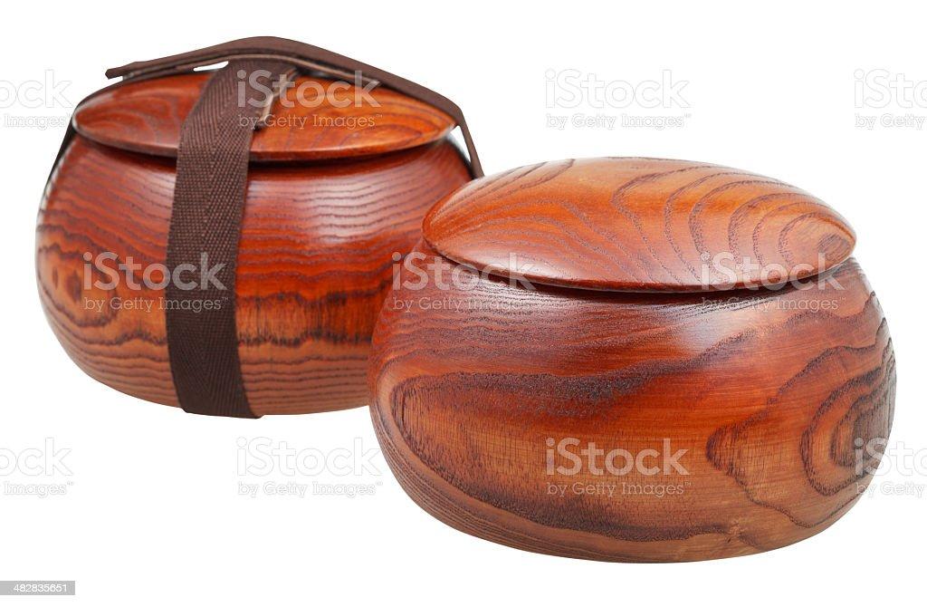 pair of Wild Chinese Jujube Date Wood bowls stock photo