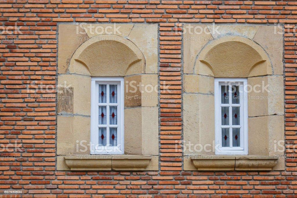 pair of windows, hondarribia-spain stock photo