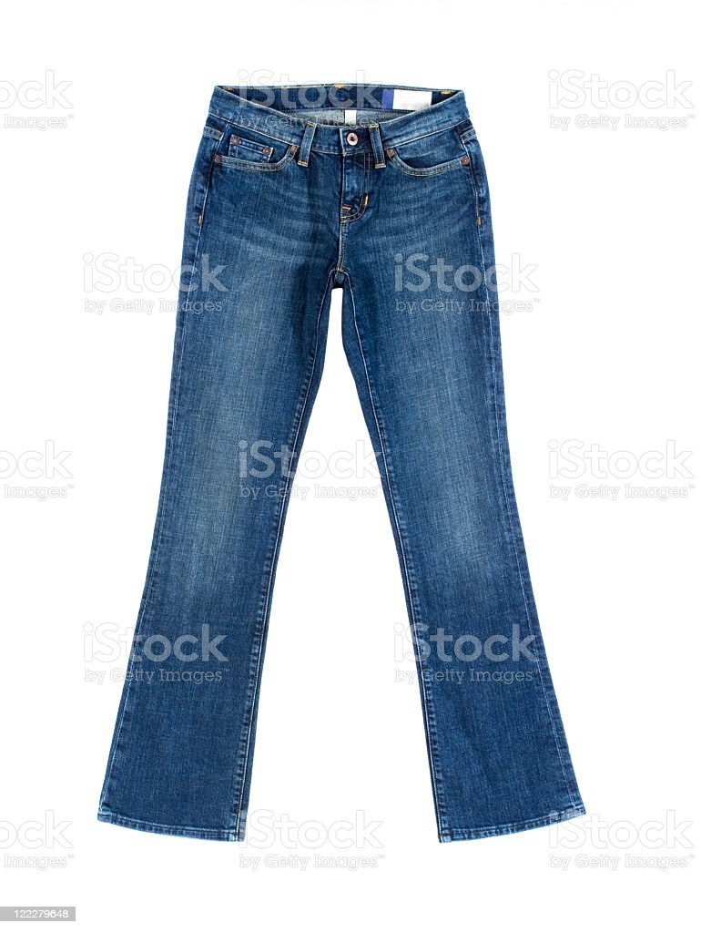 Pair of women's blue denim jeans stock photo