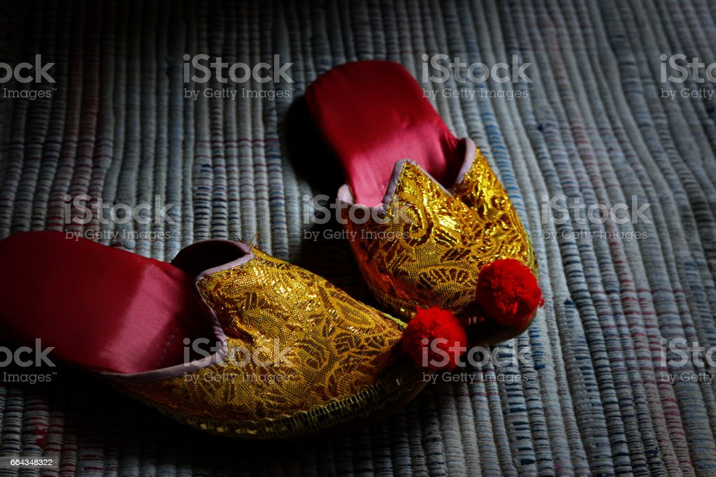 A pair of women's slippers stock photo