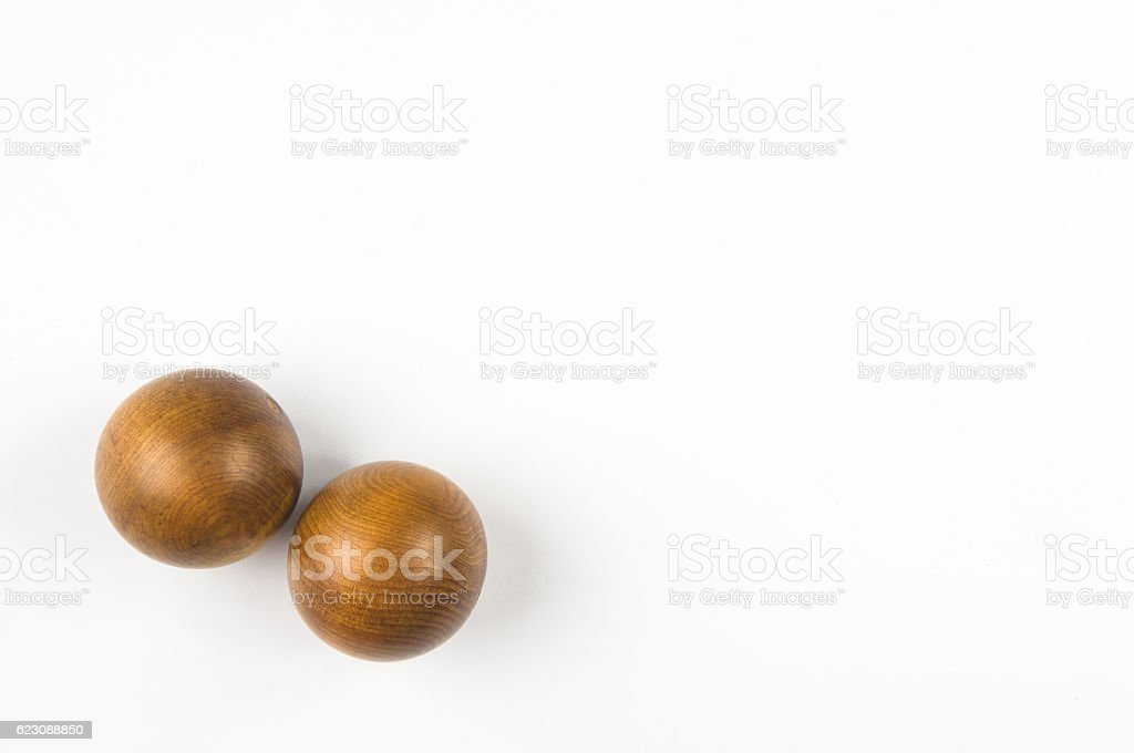 pair of wooden Chinese balls Baoding stock photo