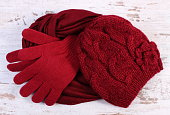 Pair of woolen gloves, cap and shawl for woman
