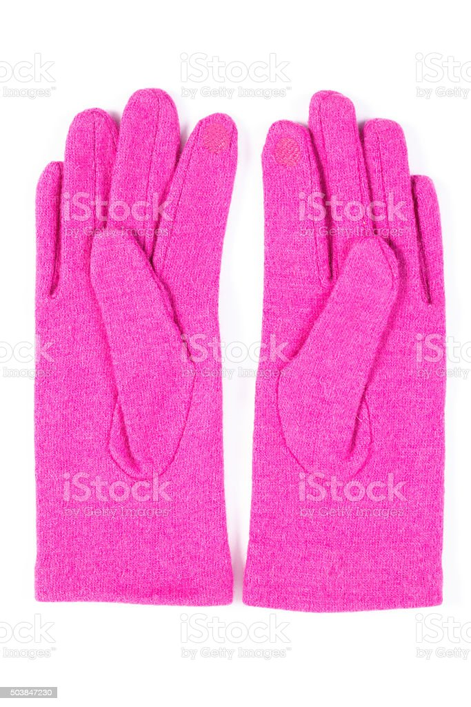 Pair of woolen gloves for woman on white background stock photo