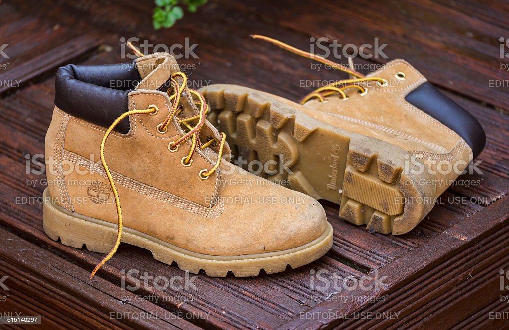 Pair of Worn Timberland Boots stock photo