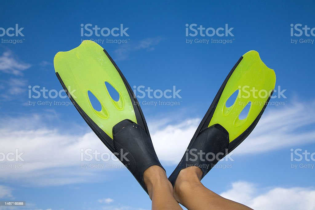 Pair of yellor diving flippers royalty-free stock photo