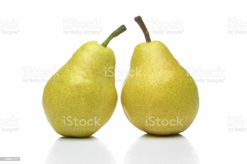 Pair of yellow pears stock photo