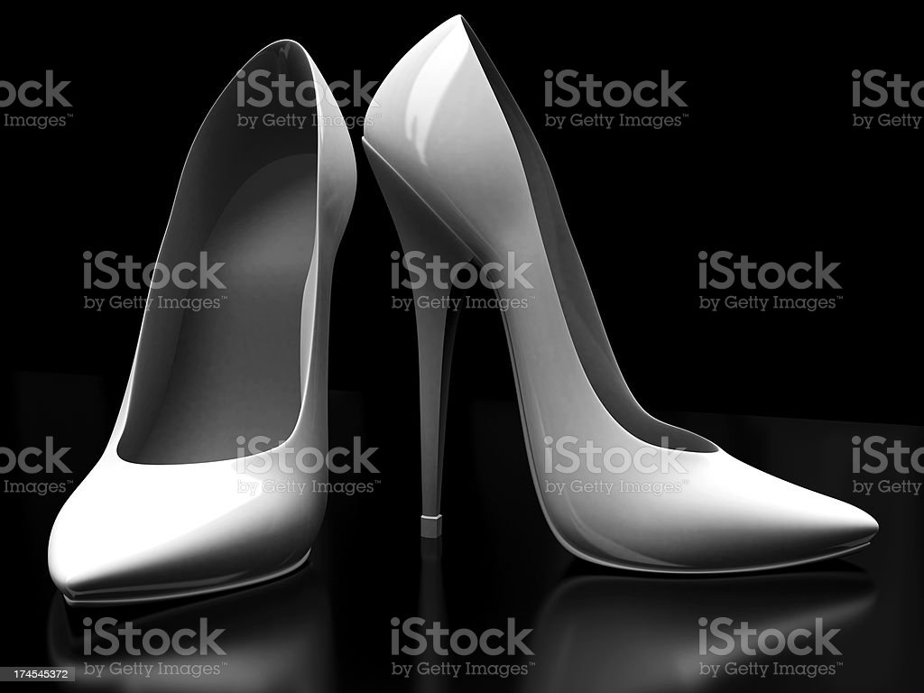 3D Pair White High Heels on Black Background royalty-free stock photo