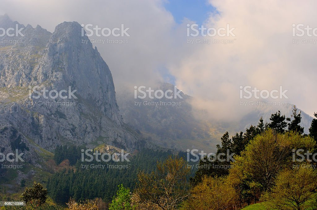 paisaje de montaña con niebla royalty-free stock photo