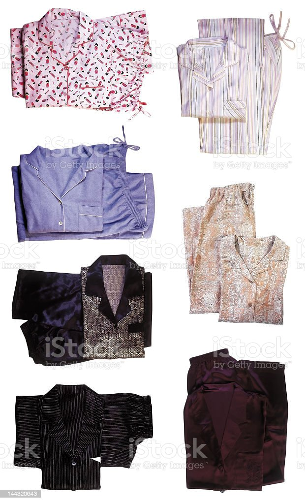 Pajamas in different sets folded stock photo