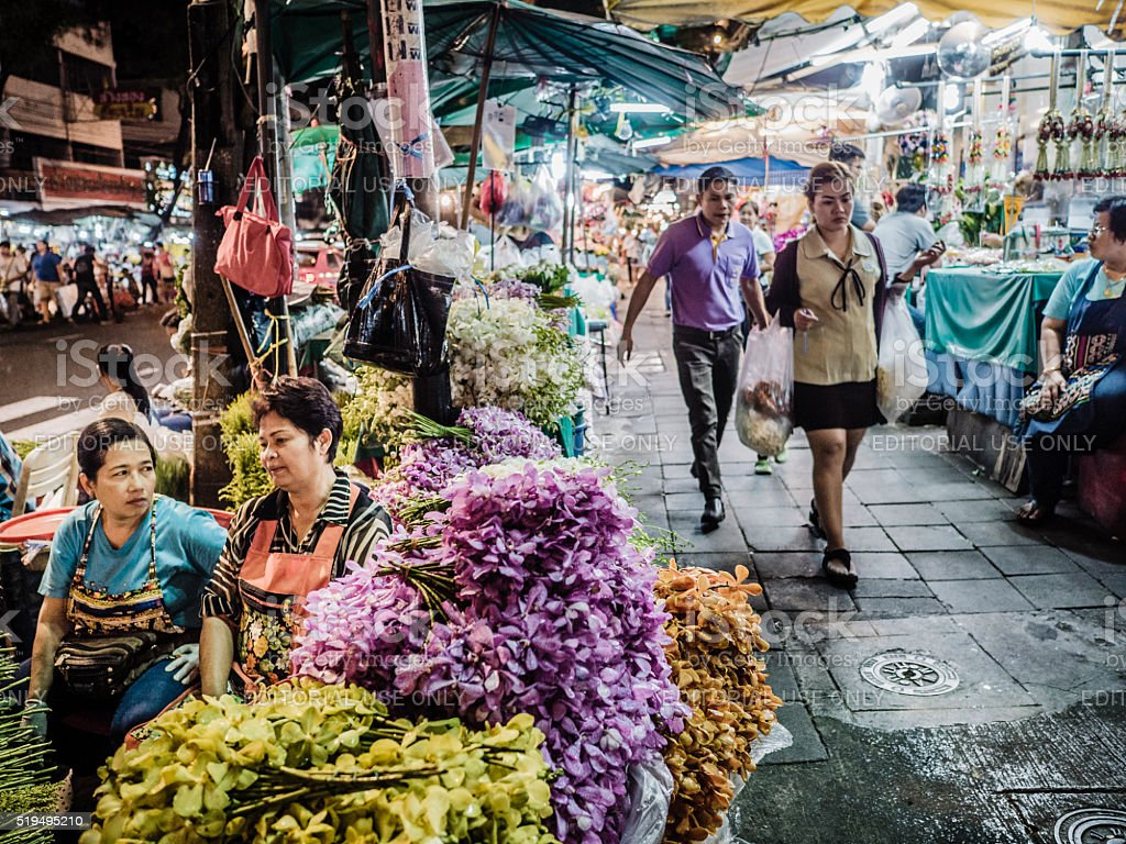 Pak Khlong Talat flower market Bangkok Thailand stock photo