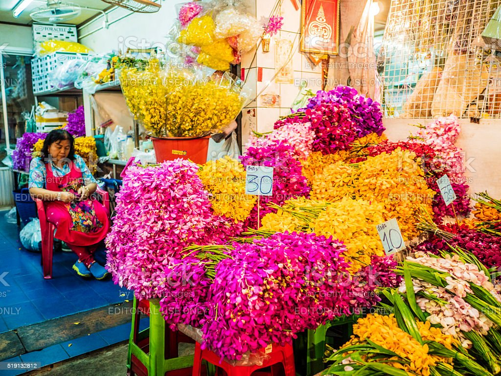 Pak Khlong Talat flower street market Bangkok Thailand stock photo