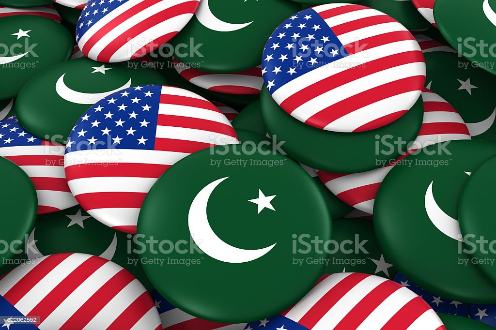 Pakistan and USA Flag Badges Background stock photo
