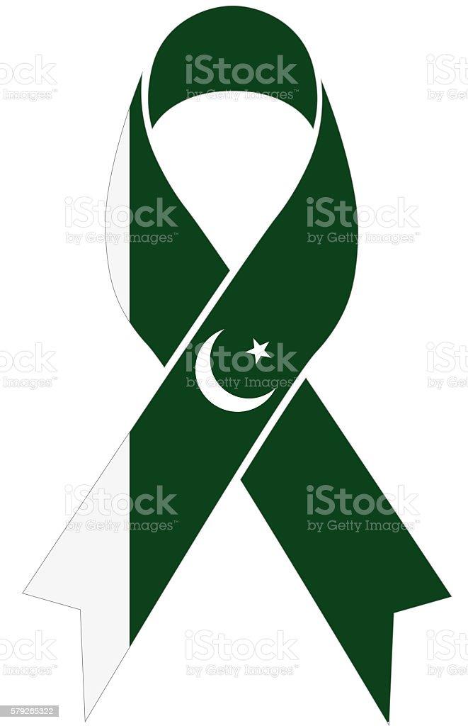 Pakistan condolence ribbon with pakistani flag colors stock photo