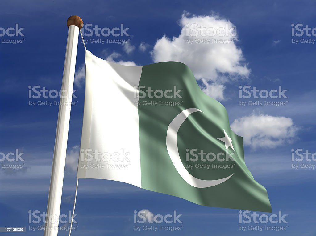 Pakistan flag (with clipping path) stock photo