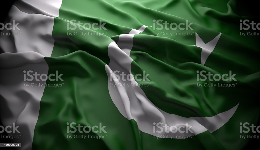 Pakistan, Islamabad national official state flag stock photo