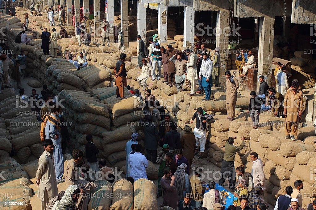Pakistani Food Traders At Fruit And Vegatable Market stock photo