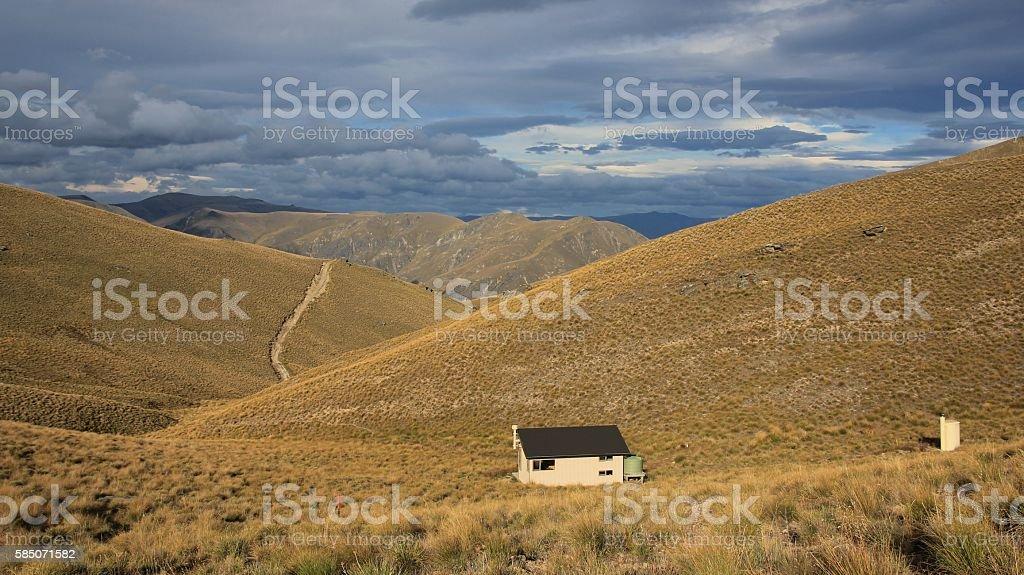 Pakituhi Hut and mountains stock photo