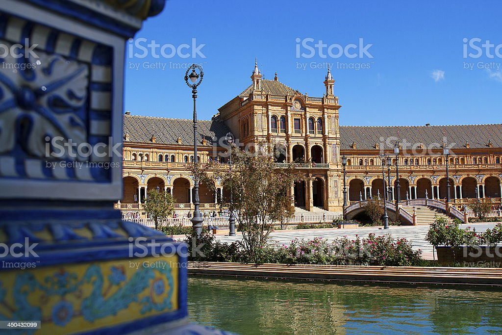 Palace and ceramics in Plaza de Espa?a, Seville. stock photo
