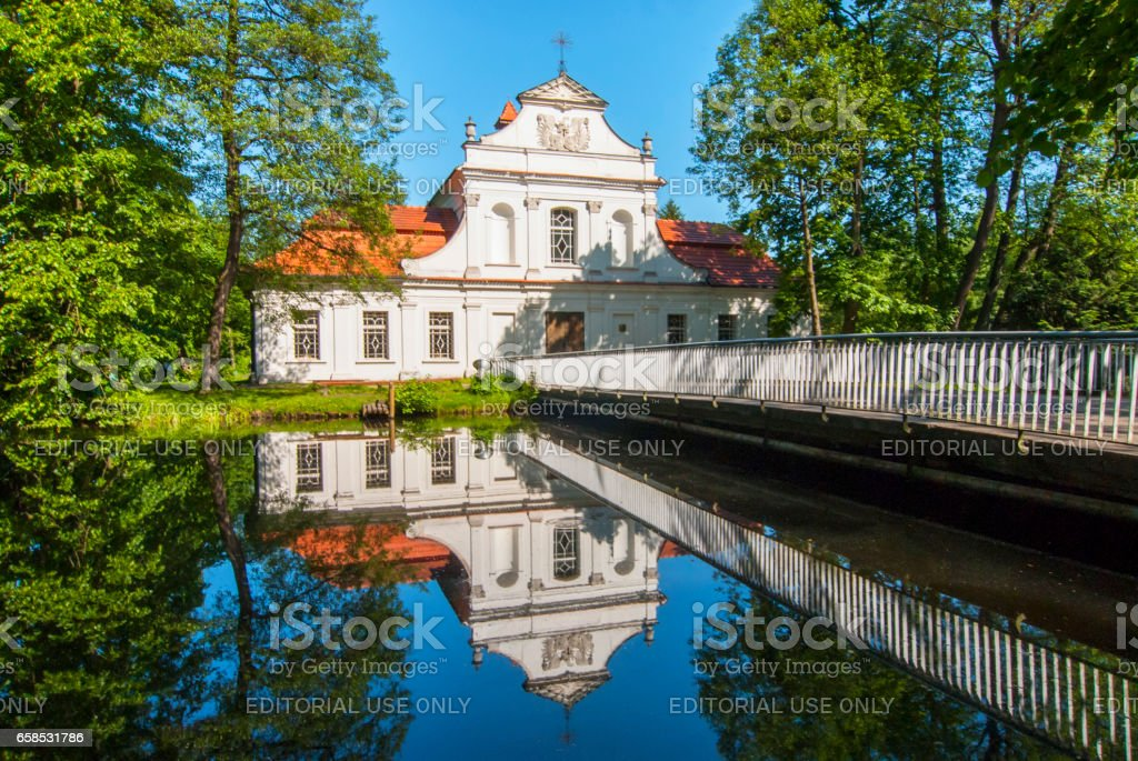 Palace and Church called Palace On the Water in Zwierzyniec, Poland. stock photo