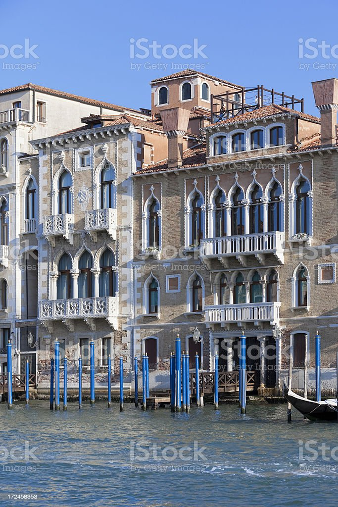 Palace and houses at Grand Canal in Venice Italy royalty-free stock photo