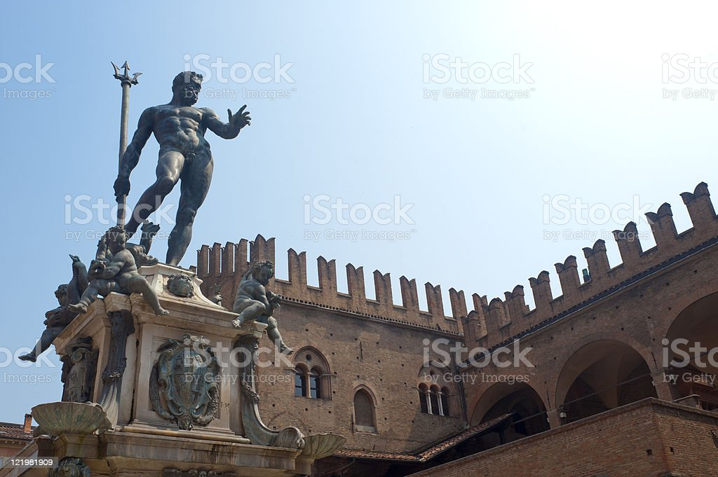 Palace and Neptune statue at Bologna Emilia-Romagna Italy stock photo