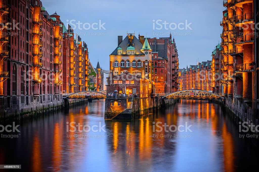 A palace at night in Hamburg, a city of warehouses, Germany stock photo