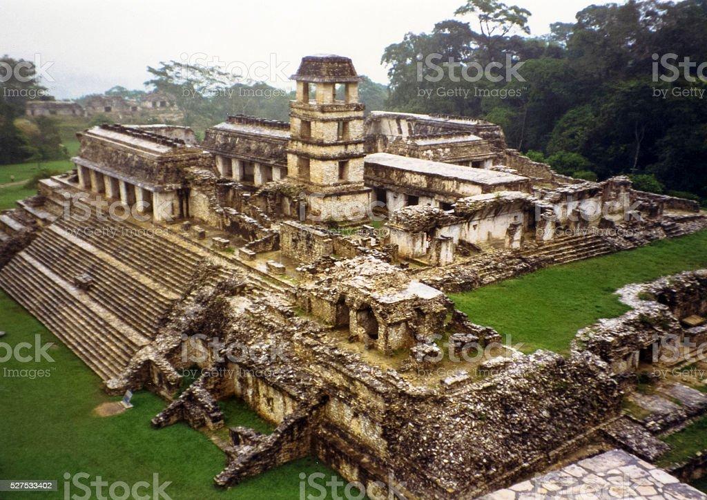Palace at Palenque stock photo