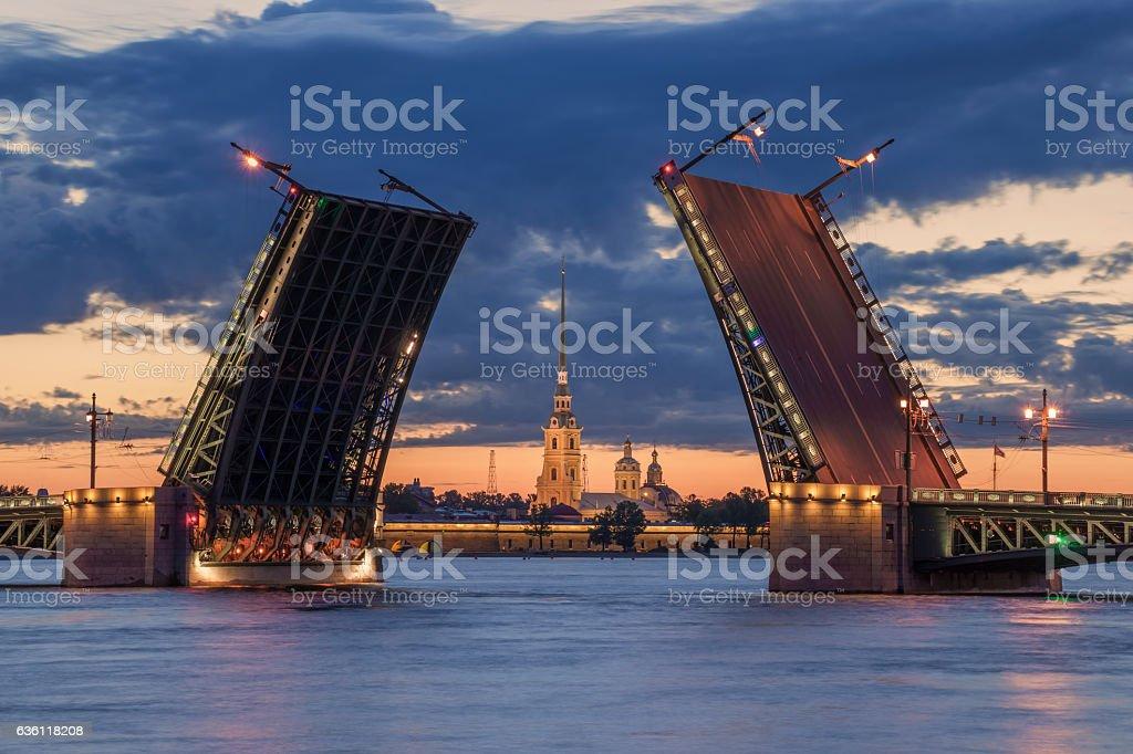 Palace Bridge Drawn Up, White Nights stock photo