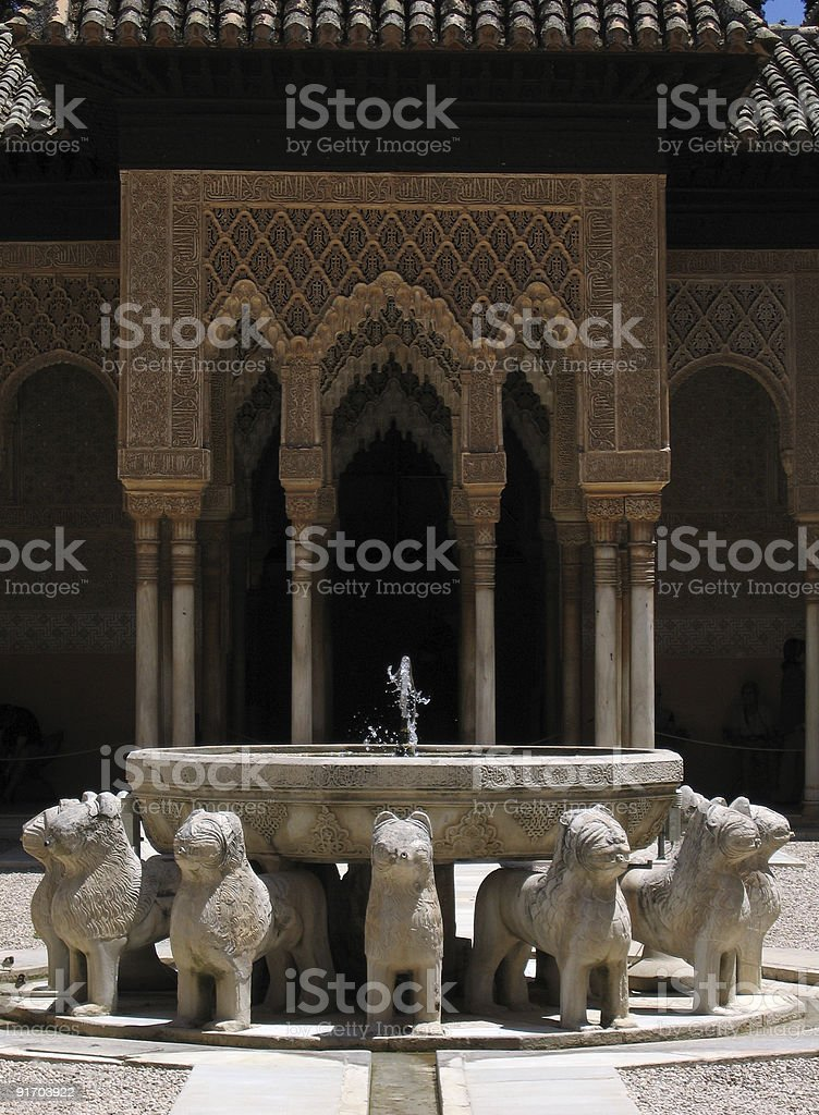 Palace dog sculptures within the Alhambra,Granada,Spain royalty-free stock photo