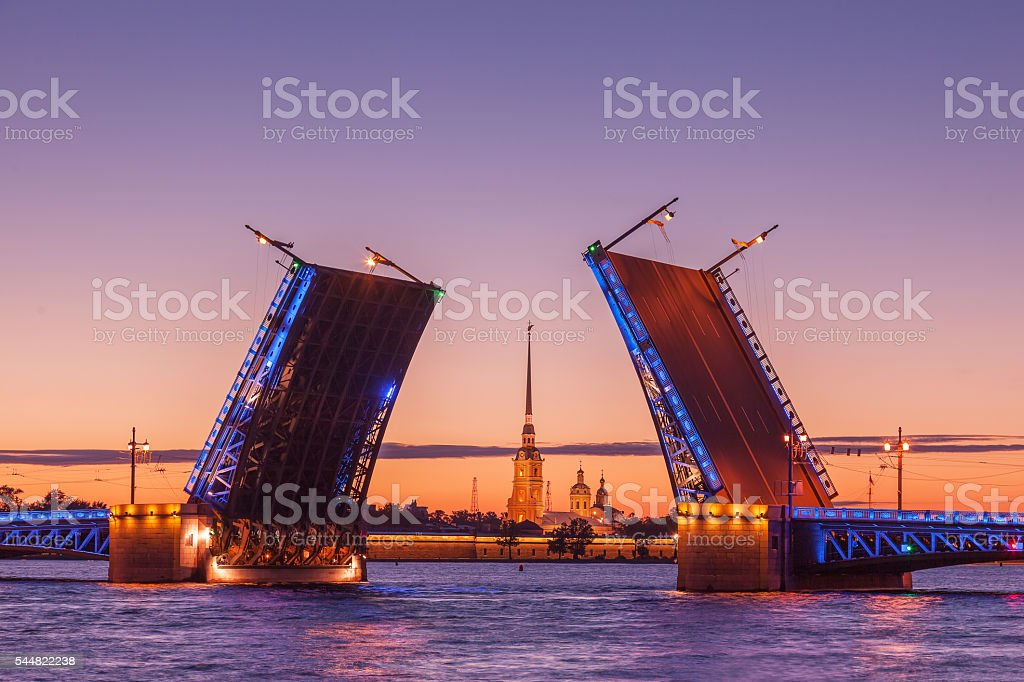 Palace drawbridge, White nights in Saint Petersburg, Russia stock photo
