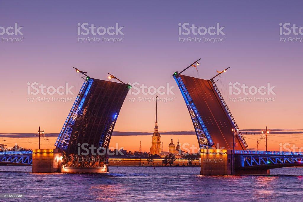 Palace drawbridge, White nights in Saint Petersburg, Russia stock photo