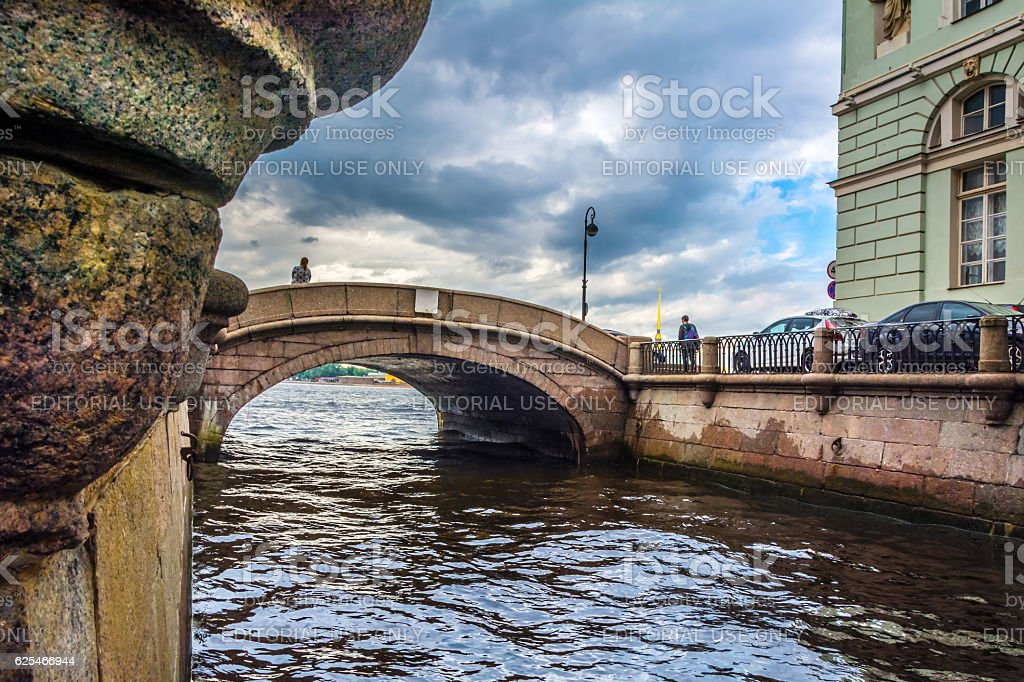 Palace embankment, view on Peter and Paul fortress, Neva river, stock photo