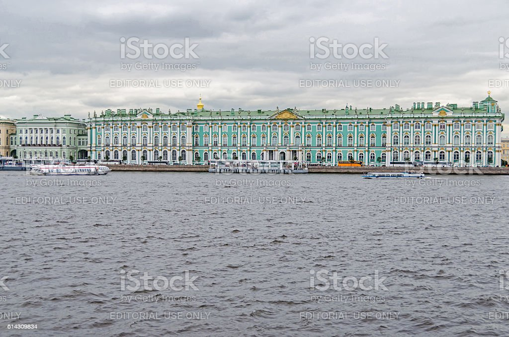 Palace Embankment with the Winter Palace stock photo