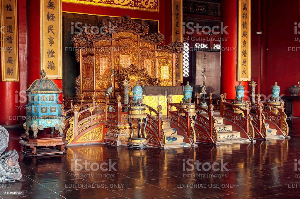 Palace gate, interior,Forbidden City, Beijing,China stock photo