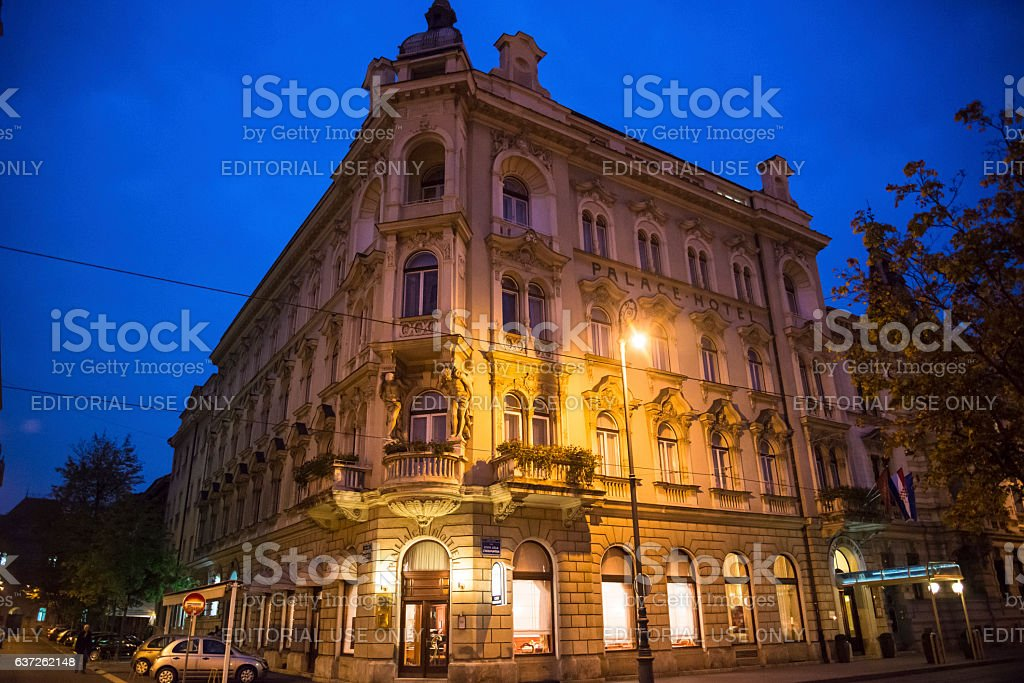 Palace Hotel, Zagreb, Croatia stock photo