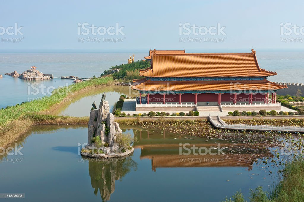 Palace in Chinese garden of the sea stock photo