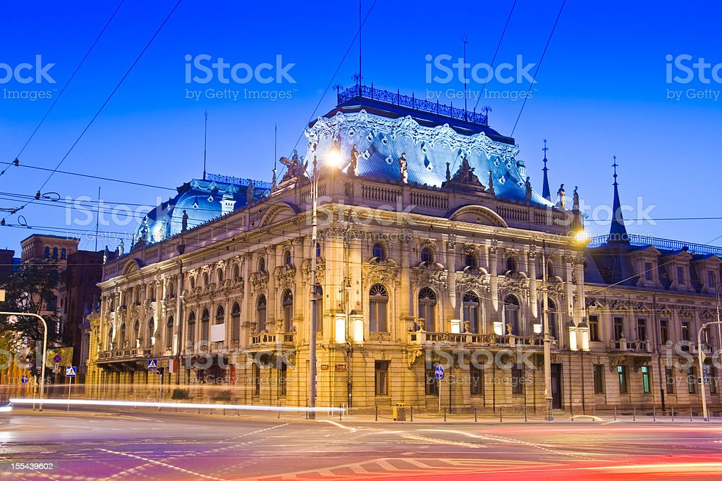 Palace in City of Lodz stock photo