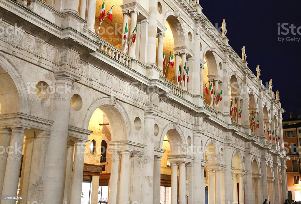 palace in the main square of the town of Vicenza stock photo