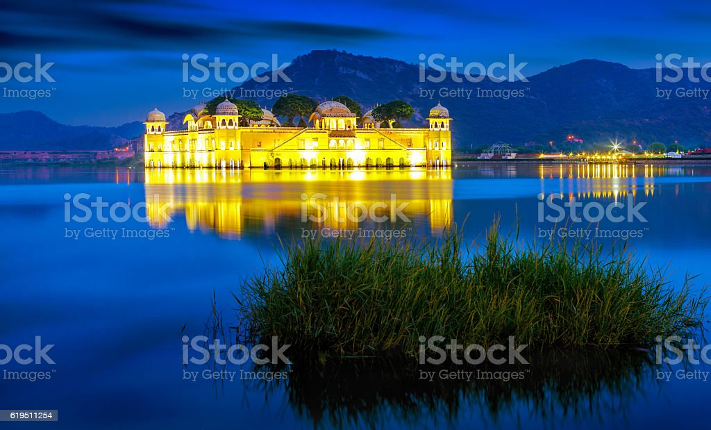 Palace Jal Mahal at sunse, Jaipur, Rajasthan, India, Asia stock photo