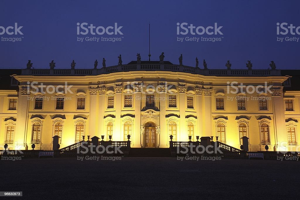 Palace Ludwigsburg Front Close-Up Night stock photo