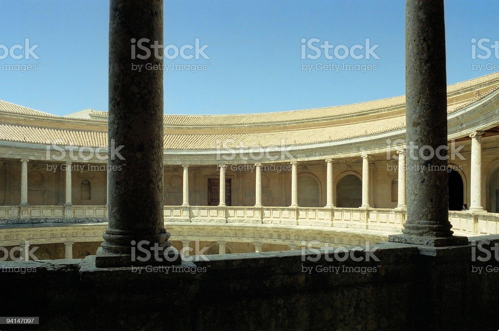 Palace of Charles V at Alhambra, Granada colonnade royalty-free stock photo