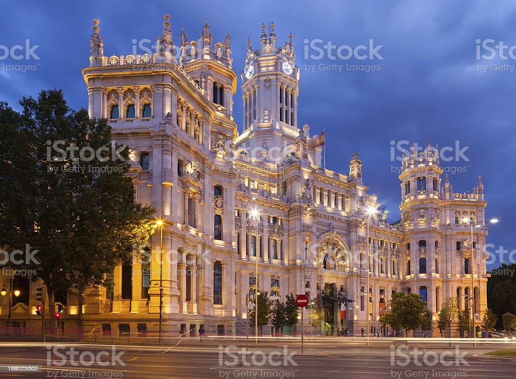 Palace of Communication in summer dusk. Madrid stock photo