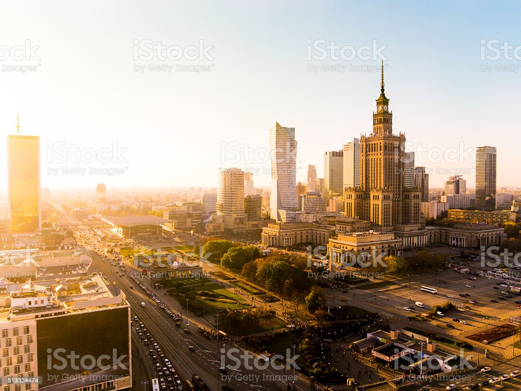 Palace of Culture and Science in Warsaw, Poland stock photo