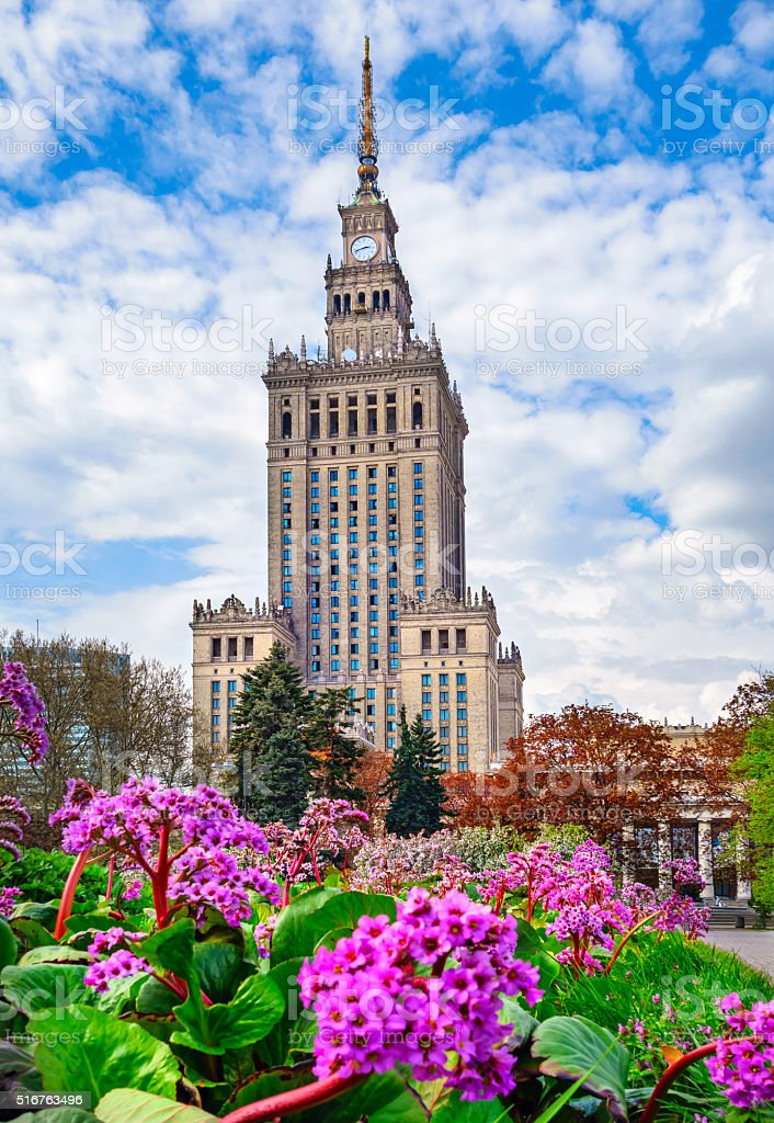 Palace of Culture and Science in Warsaw Poland stock photo
